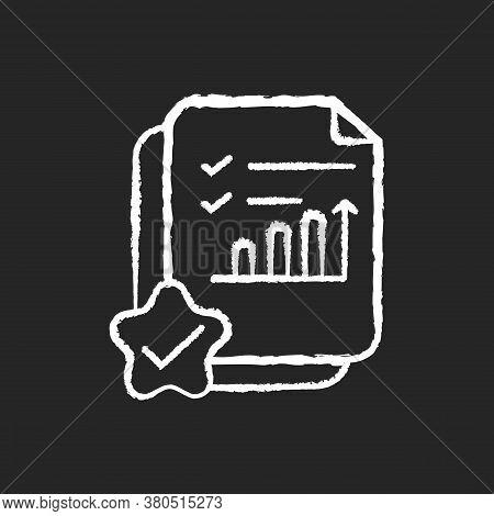 Accounting Document Chalk White Icon On Black Background. Positive Review. Report On Growing Financi