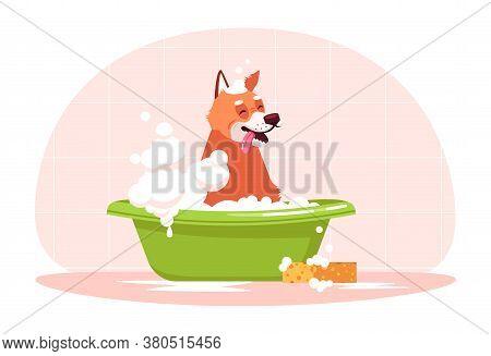 Dog In Bathtub Semi Flat Rgb Color Vector Illustration. Doggy Wash In Bathroom. Bubble Bath For Pupp