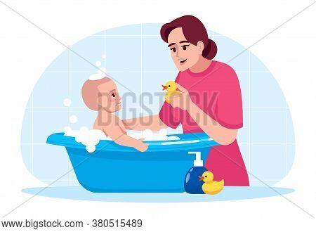 Baby Hygiene Semi Flat Rgb Color Vector Illustration. Toddler In Bathtub. Mother Washing Baby. Kid P