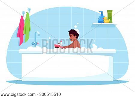 Boy Bath Time Semi Flat Rgb Color Vector Illustration. Baby Play With Plastic Toy. Bubble Bath For C