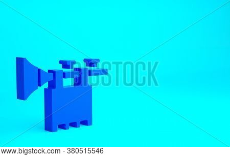 Blue Trumpet With Flag Icon Isolated On Blue Background. Musical Instrument Trumpet. Minimalism Conc
