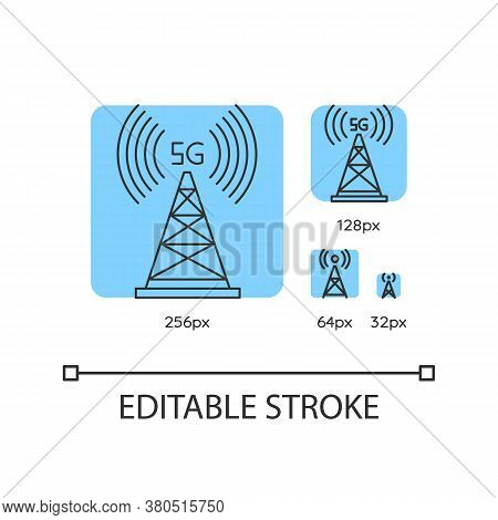 5g Cell Tower Blue Linear Icons Set. Antenna Signal. Wireless Technology. Fast Connection. Thin Line