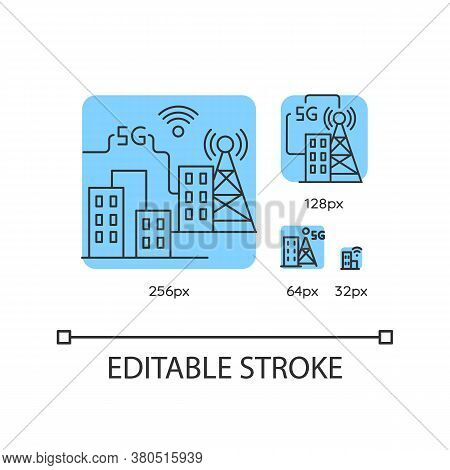 5g Smart City Blue Linear Icons Set. Improved Urban Infrastructure. Wireless Technology. Thin Line C
