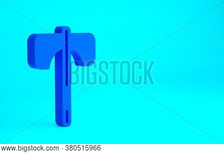 Blue Medieval Axe Icon Isolated On Blue Background. Battle Axe, Executioner Axe. Medieval Weapon. Mi