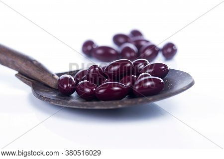 Grape Seed Extract Capsules On The White Background