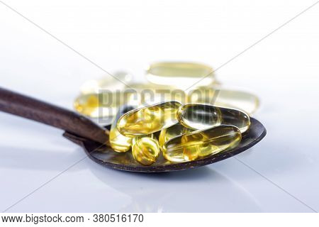 Sesame Oil Capsules On The White Background