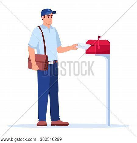 Postman Delivering Mail Semi Flat Rgb Color Vector Illustration. Mailman Putting Envelope In Mailbox