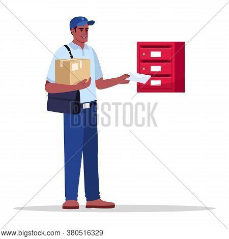 Postman Delivering Mail And Parcel Semi Flat Rgb Color Vector Illustration. Mailman Putting Envelope