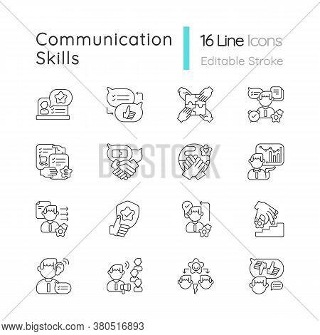 Communication Skills Linear Icons Set. Different Personal Traits. Self Development, Teamwork Skills