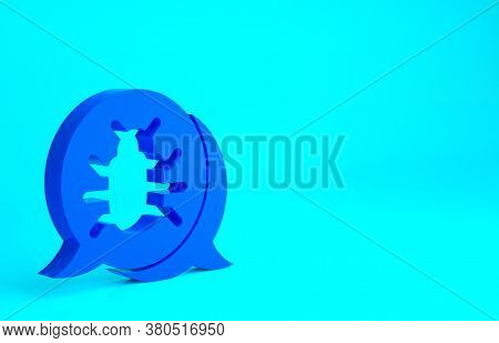 Blue System Bug Concept Icon Isolated On Blue Background. Code Bug Concept. Bug In The System. Bug S