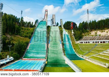 Lahti, Finland - 4 August 2020: Lahti Sports Centre With Three Ski Jump Towers