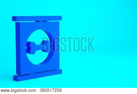 Blue Canned Food Icon Isolated On Blue Background. Food For Animals. Pet Food Can. Dog Bone Sign. Mi