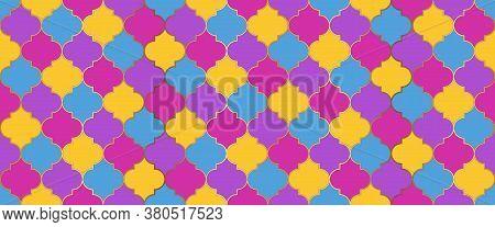 Moroccan Seamless Ornament Seamless Moroccan Mosaic Texture. Ramadan Traditional Golden Mosque Tile.