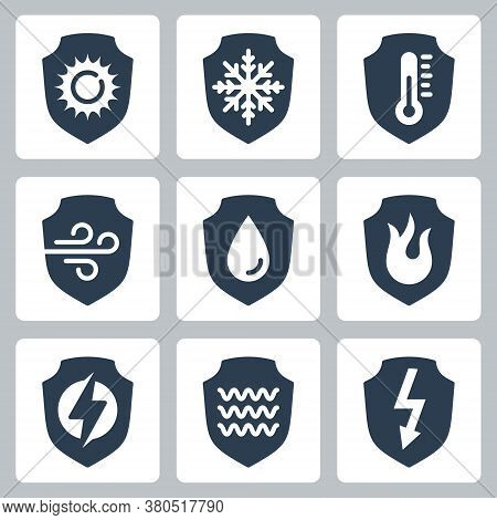 Resistance, Protection From External Influence And Guarding Related Vector Icon Set In Glyph Style 2