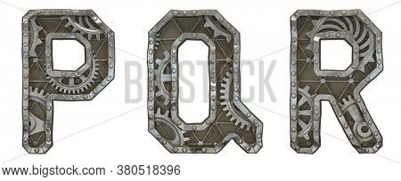 Mechanical alphabet made from rivet metal with gears on white background. Set of letters P, Q, R. 3D rendering