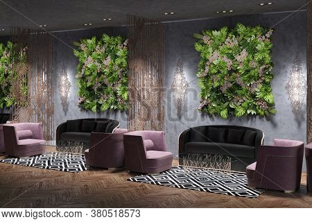 Lobby, Vip Seats In The Restaurant. 3d Render