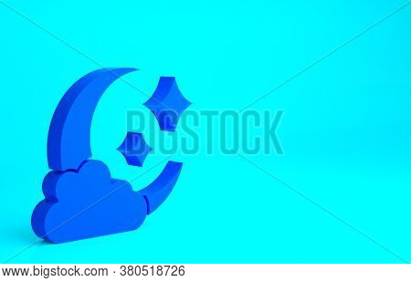 Blue Cloud With Moon Icon Isolated On Blue Background. Cloudy Night Sign. Sleep Dreams Symbol. Night