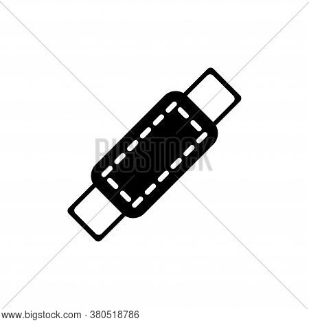 Medical Plaster, Bandage Patch, Band Aid. Flat Vector Icon Illustration. Simple Black Symbol On Whit