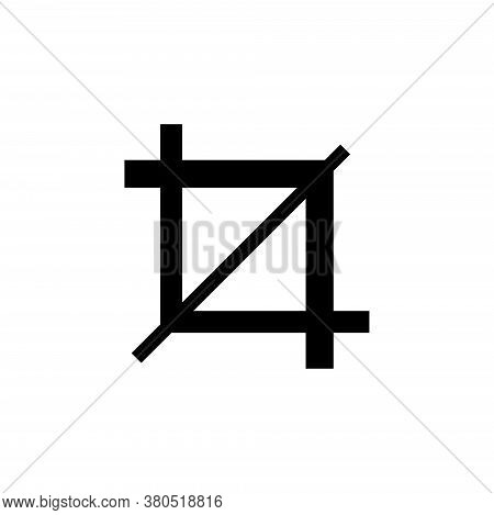 Crop Tool Frame, Cropping Instrument. Flat Vector Icon Illustration. Simple Black Symbol On White Ba