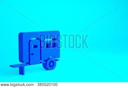 Blue Rv Camping Trailer Icon Isolated On Blue Background. Travel Mobile Home, Caravan, Home Camper F