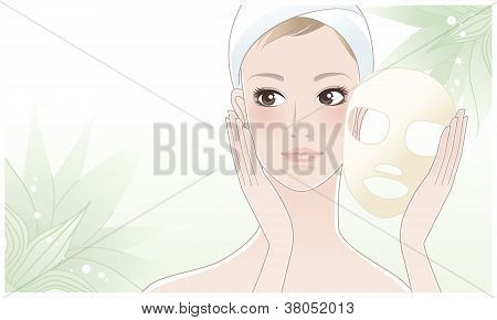 Beautiful Young Woman After Beauty Mask On Lotus Flower