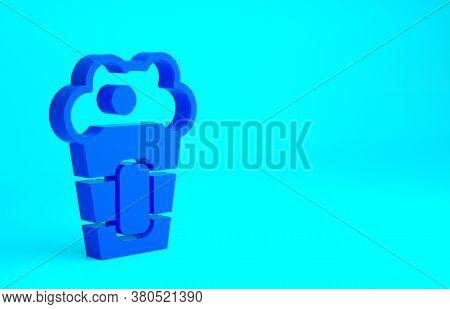 Blue Popcorn In Cardboard Box Icon Isolated On Blue Background. Popcorn Bucket Box. Minimalism Conce