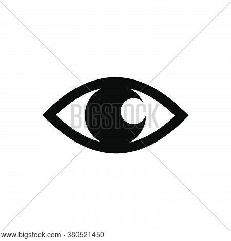 Human Eye Icon Vector On White Background. Eye Icon Black On White Background. Human Eye Icon Simple