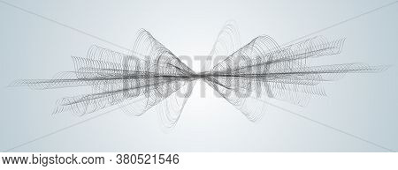 Soundwave Smooth Curved Lines Abstract Design Element Technology Light Background With A Line In Wav