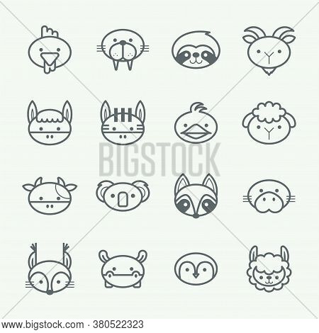 Vector Set Of Outline Animal Icons. Thin Line Style Animal Icons Set 2.