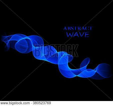Vector Abstract Shiny Color Blue Wave Design Element On Dark Background.