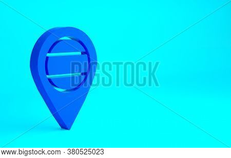Blue Location Russia Icon Isolated On Blue Background. Navigation, Pointer, Location, Map, Gps, Dire
