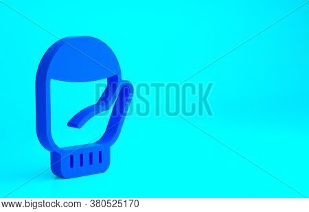 Blue Christmas Mitten Icon Isolated On Blue Background. Minimalism Concept. 3d Illustration 3d Rende