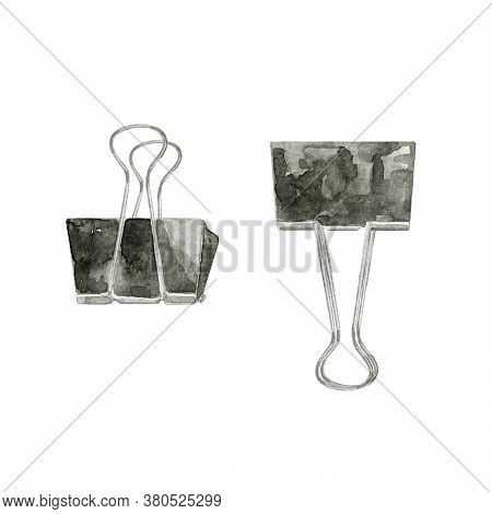 Hand Drawn Binder Clips Isolated On White. Metal Devices To Hold And Fasten Sheets Of Paper. Black C
