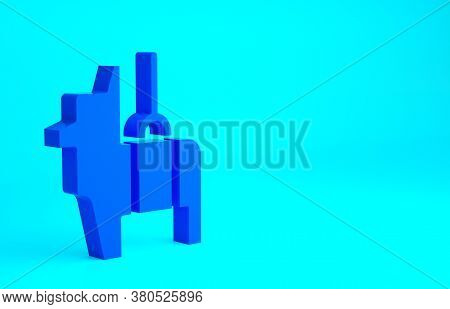 Blue Pinata Icon Isolated On Blue Background. Mexican Traditional Birthday Toy. Minimalism Concept.