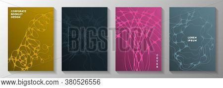 Biotechnology And Neuroscience Vector Covers With Neuron Cells Structure. Overlaying Waves Blend Tex