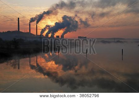 Factory Pipe Polluting Air