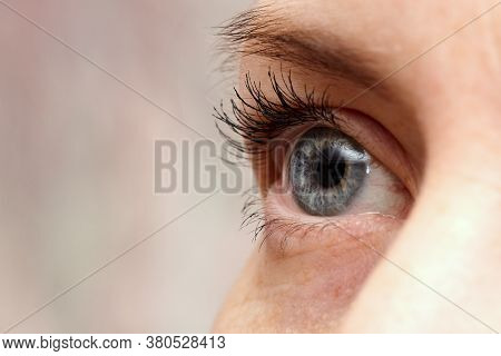 Blue Human Eye. Woman's Eyes, Macro Close - Up Selective Focus. Background, Blur The Background.