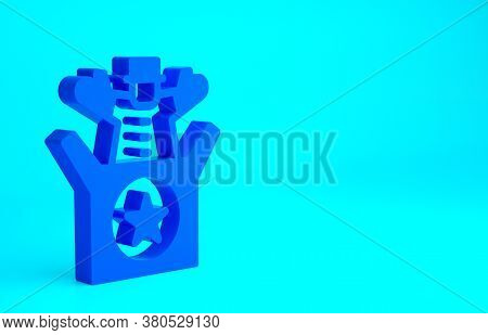 Blue Jack In The Box Toy Icon Isolated On Blue Background. Jester Out Of The Box. Minimalism Concept
