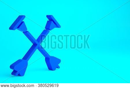 Blue Arrow With Sucker Tip Icon Isolated On Blue Background. Minimalism Concept. 3d Illustration 3d