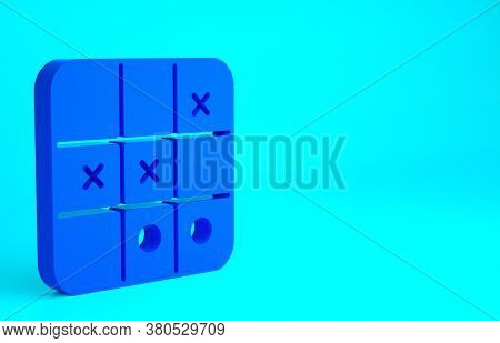 Blue Tic Tac Toe Game Icon Isolated On Blue Background. Minimalism Concept. 3d Illustration 3d Rende