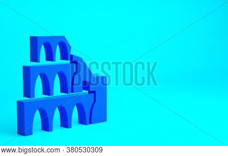 Blue Coliseum In Rome, Italy Icon Isolated On Blue Background. Colosseum Sign. Symbol Of Ancient Rom