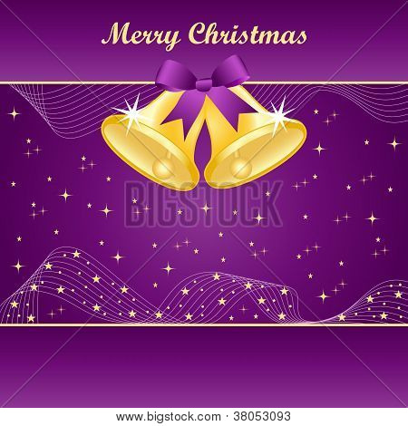 Gold Christmas Bells On Purple