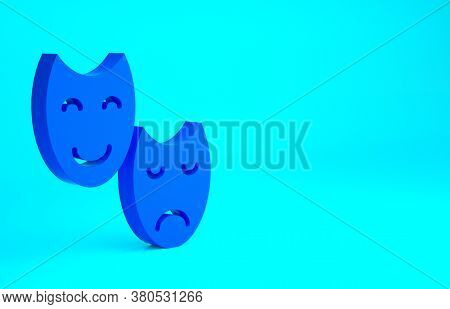 Blue Comedy And Tragedy Theatrical Masks Icon Isolated On Blue Background. Minimalism Concept. 3d Il