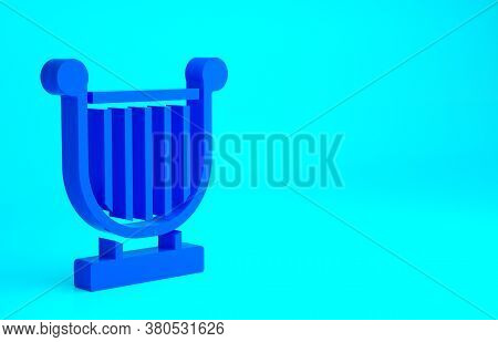 Blue Ancient Greek Lyre Icon Isolated On Blue Background. Classical Music Instrument, Orhestra Strin