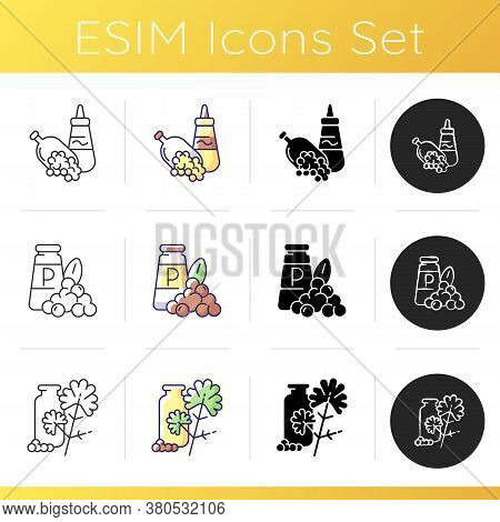 Condiments Icons Set. Food Seasoning. Natural Supplement. Cooking Condiment. Mustard And Black Peppe