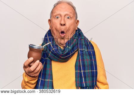 Senior handsome grey-haired man wearing casual scarf drinking cup of mate infusion beverage scared and amazed with open mouth for surprise, disbelief face