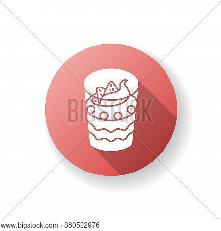 Parfait Flat Design Long Shadow Glyph Icon. Yogurt Based Frozen Dessert. Sweet Breakfast. National F