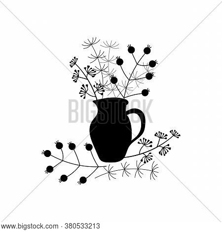 A Bunch Of Herbs And Twigs With Berries In A Vase. Silhouettes Of Simple Twigs, Plants, Herbarium. C