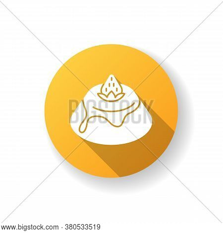 Panna Cotta Flat Design Long Shadow Glyph Icon. Italian Pudding With Strawberry Sauce. Traditional I