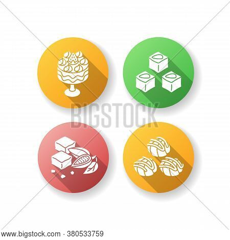 Traditional Sweets Flat Design Long Shadow Glyph Icons Set. Profiteroles. Classic Brownies. Turkish